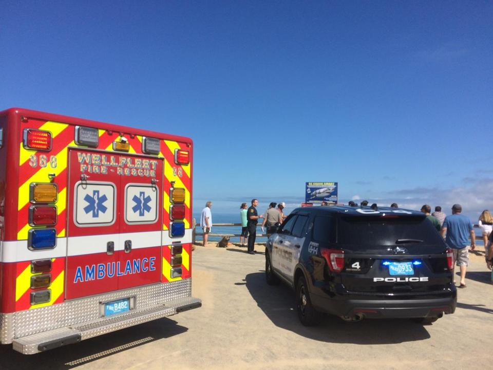 Police and paramedics responded to Newcomb Hollow Beach in Wellfleet on Saturday after the shark attack.